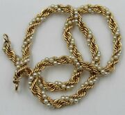 Vintage 14k Yellow Gold Pearl Rope Twist Chain Choker Necklace 15andrdquo 5 Mm