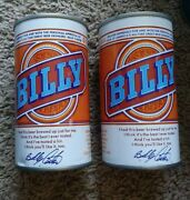 2 Billy Carter Beer Cans - Blue Lines At Seam - Cold Spring Brewing Co. Mn