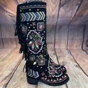 Unbranded Aztec Western Boots Women Size 8 Embroidered Tasseled Boots - New