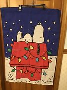 Peanuts Snoopy Doghouse Christmas Welcome Yard Flag Charlie Brown Xmas Winter
