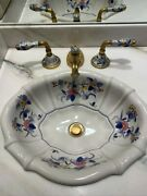 Sherle Wagner Italy Mums Blue Floral Pair Of Matching Scalloped Sinks And Faucets
