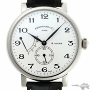 Eberhard And Co. 8 Days Grande Taille 21027.1 Hand Winding White Dial Leather Mens