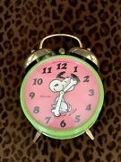Vintage Blessing 1970 Snoopy Rare Pink Green Wind Up Alarm Clock West Germany