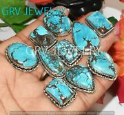 1000pcs Natural Turquoise Gemstone Ring Lot 925 Sterling Silver Plated Whr-35