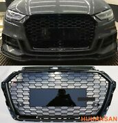 For 2017-2020 Audi A3 S3 Rs3 Style Grille Front Hood Henycomb Bumper Grill Black