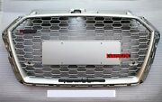 For Audi A3 S3 2017-2020 Rs3 Style Grille Front Hood Henycomb Grill Full Silver
