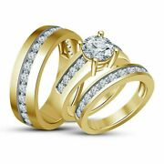 14k Yellow Gold Plated Round Cut D/vvs1 Diamond His And Her Wedding Trio Ring Sets