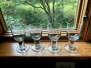 Set Of 4 Crate And Barrel Viva Clear Thick Stem Wine Glass 5 3/4andrdquo Discontinued Htf