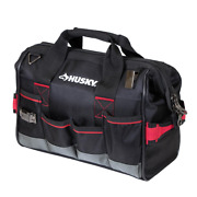 Husky Large Mouth Tool Bag 14 In. Heavy Duty 8-pockets Fabric Zippered Top