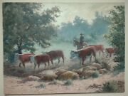 T. W. Alston Texas Listed Artist Misty Drive 18x24 Oil Painting Cattle Cowboy