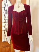 Vicky Tiel Vintage French Couture Red Velvet Corset Blazer Top Skirt Suit Small