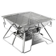 Portable Folding Barbecue Charcoal Grill Stove Stainless Steel Bbq Patio Camping