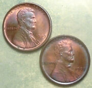 1909 Vdb And P Wheat Penny Set Bu Brilliant Uncirculated-rainbow Swirling Luster