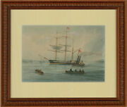 Pearson - 1877 Watercolour Clipper And Paddle Steamer
