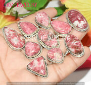 1000pcs Natural Thulite Gemstone Rings Lot 925 Sterling Silver Overlay Whr-36