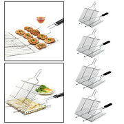 Folding Stainless Steel Bbq Grill Basket For Grilling Fish Outdoor Bbq Tool
