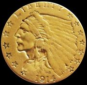 1914 Gold United States 2.5 Dollar Indian Head Quarter Eagle Coin