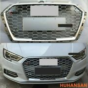 Fit Audi A3 S3 2017-2020 Rs3 Style Grille Front Hood Henycomb Grill Full Silver