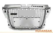 Full Silver Rs3 Style For 2009-12 Audi A3/s3 Front Mesh Grille Honeycomb Grill