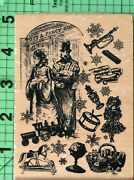 Antique Vintage Toys Fancy Goods Collage Rubber Stamp By Inkadinkado 91315-y