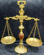 Antique Art Deco Green Marble Onyx Gold Tone Scales Of Justice Ornate Gorgeous