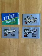 3 Vintage Rare Barq's Root Beer Vending Soda Machine Can Vending Labels And 1 Tea
