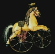 Vintage Wooden Horse Tricycle Hand Carved Leather Saddle
