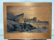 Rare Antique Copper Etching Plate By A.h Payne Sea Of Lilla And Charybdis Sicily