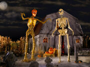 💥 Combo Set - 12 Ft Tall Halloween And Inferno Skeletons - Lcd Eyes - Brand New