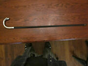 A Well Used Antique Ebony Hooked Cane, W/ A Sterling Silver Greyhound Handle