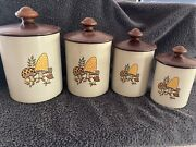 Vintage West Bend Groovy Metal Mushroom Canister Set / 4 Canisters With Lids