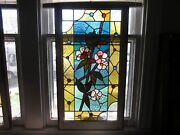 C.1890 Antique Aesthetic Combination Stained Glass Window 18 Jewels Old Frame