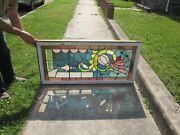 C.1910 Antique Combination Stained Glass Transom Window 17 Jewels Orig Frame
