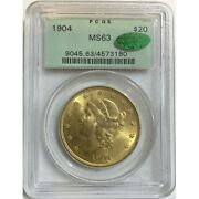 1904 Gold 20 Double Eagle Liberty Coin Pcgs Ms-63 Cac - Green Label