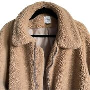 Princess Polly Oversized Beige Faux Fur Teddy Coat Womens S/m Collared Neckline