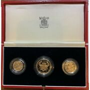 1986 United Kingdom Uk Royal Mint 3 Coin Gold Proof Set With Case And Coa