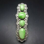3 Long Andy Cadman Navajo Stamped Sterling Silver Green Gaspeite Ring Size 9.75
