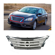 Grille Front Upper Frame Chrome W/silver Insert Fits Nissan Sentra 2013 - 2015