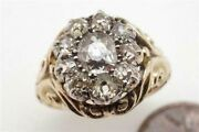 Superb Antique Victorian English 15k Gold Old Cut Diamond Cluster Ring C1870
