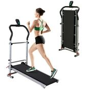 Shock-absorbing Folding Manual Treadmill Home Use Fitness Exercise Tool Us Stock