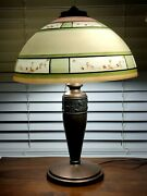 Large Pittsburgh Obverse Hand-painted Cherry Blossom Shade Lamp Pilabrasco