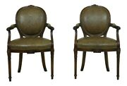 L33049ec Pair Theodore Alexander Mahogany And Leather Open Armchairs