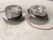 Nos Pair Clear Signal-stat Tilted Fire Truck Lamp Bus Light 4-3/8andrdquo Old New Stock
