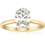 Vs 1 3/4ct Solitaire Oval Diamond 14k Yellow Gold Engagement Ring Lab Grown