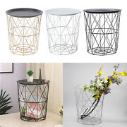 Side Table Metal Frame Round Coffee Movable End Tables For Farmhouse Home