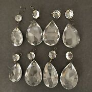 8 Vintage Cut Faceted Crystal Teardrop Prisms 6 Large 2 Small 8 Connector Pieces