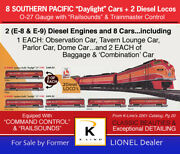 K-line Southern Pacific O-gauge Trains, Used, 8 Cars, 2 Diesel, Ships Free