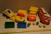 Little Tikes Toddler Tots Fire Truck, Dump Truck, Bulldozer, Benches, And 9 People