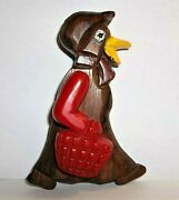 Vintage Wood Duck W/swinging Cherry Red Bakelite Movable Arm And Basket Brooch Pin
