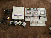 Snes Super Nintendo Console Bundle 10 Games 2 Controllers Tested Working
